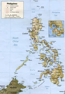 Detailed political map of Philippines with relief.