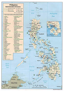 Large administrative divisions map of Philippines - 1993.