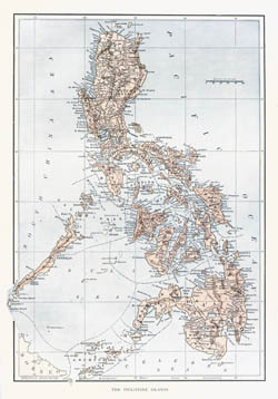 Large old political and administrative map of Philippines with relief.