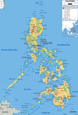 Large physical map of Philippines with roads, cities and airports.