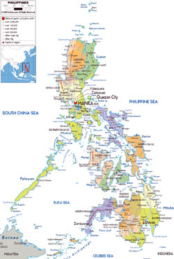 Large political and administrative map of Philippines with roads, cities and airports.
