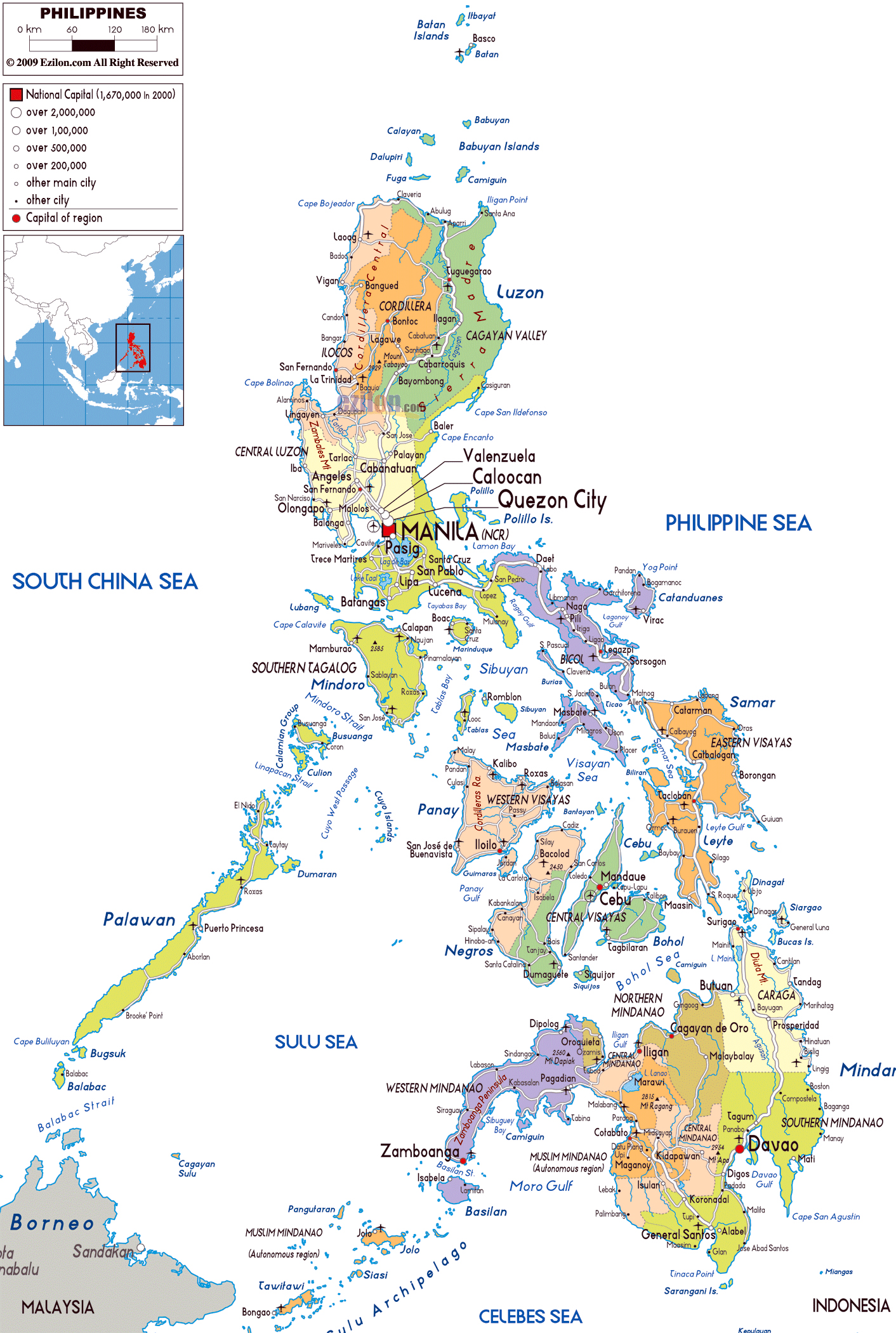 large political and administrative map of philippines with roads citiesand airports. maps of philippines  detailed map of philippines in english