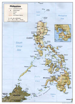 Large political map of Philippines with relief, roads and cities - 1993.