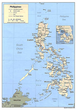 Large political map of Philippines with roads and cities - 1993.