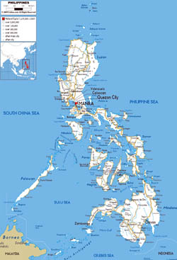 Large road map of Philippines with cities and airports.