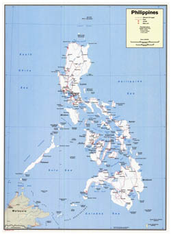 Large scale detailed political map of Philippines with roads, cities, seaports and airports - 1973.