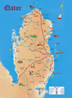 Large detailed tourist map of Qatar.