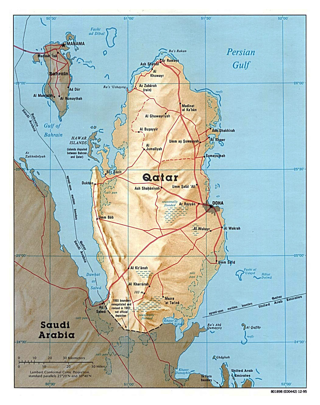 large political map of qatar with relief roads and cities 1995