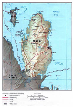 Large political map of Qatar with relief, roads and cities.