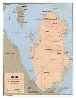 Large political map of Qatar with roads and cities - 1980.