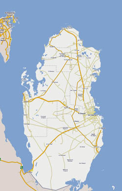 Large road map of Qatar.