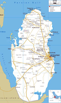 Large road map of Qatar with cities and airports.