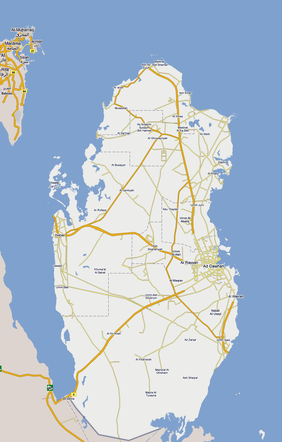 Maps of Qatar Detailed map of Qatar in English Tourist map of