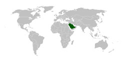 Detailed location map of Saudi Arabia.