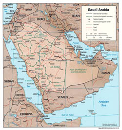 Detailed political and administrative map of Saudi Arabia with relief, roads and major cities - 2003.