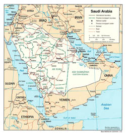 Detailed political and administrative map of Saudi Arabia with roads and major cities - 2003.