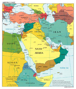 Detailed political map of Middle East - 2003.