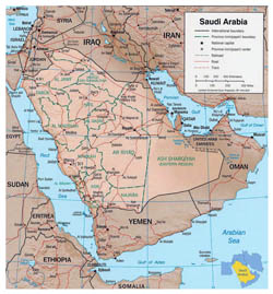 Detailed political map of Saudi Arabia with relief, roads and cities.