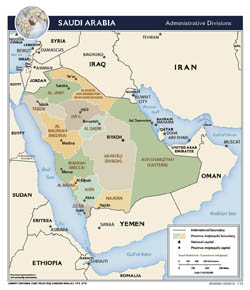 Large detailed administrative divisions map of Saudi Arabia - 2013.