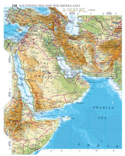 Large detailed elevation map of Southern Asia and Middle East.