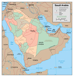 Large detailed political and administrative map of Saudi Arabia with roads and major cities.