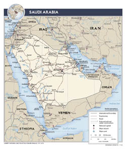 Large detailed political map of Saudi Arabia with roads and major cities - 2013.