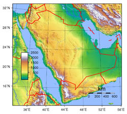 Large topographical map of Saudi Arabia.