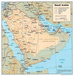 Political and administrative map of Saudi Arabia with relief, roads and major cities - 1991.
