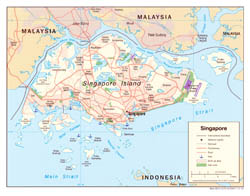 Detailed political map of Singapore with roads, airports and seaports - 2005.