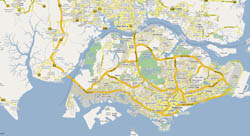 Detailed road map of Singapore.