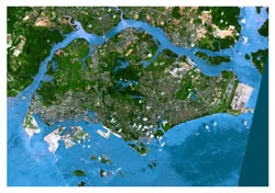 Detailed satellite map of Singapore.