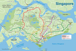 Large detailed MRT and LRT map of Singapore.
