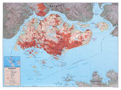Large detailed political map of Singapore with relief and roads - 1994.