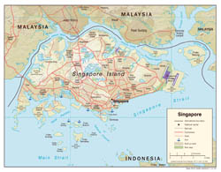 Large detailed political map of Singapore with relief, roads, airports and seaports - 2005.
