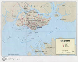 Large detailed political map of Singapore with roads, airfields and major ports - 1973.