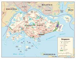 Large detailed political map of Singapore with roads, airports and seaports - 2005.