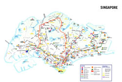 Large detailed tourist map of Singapore.