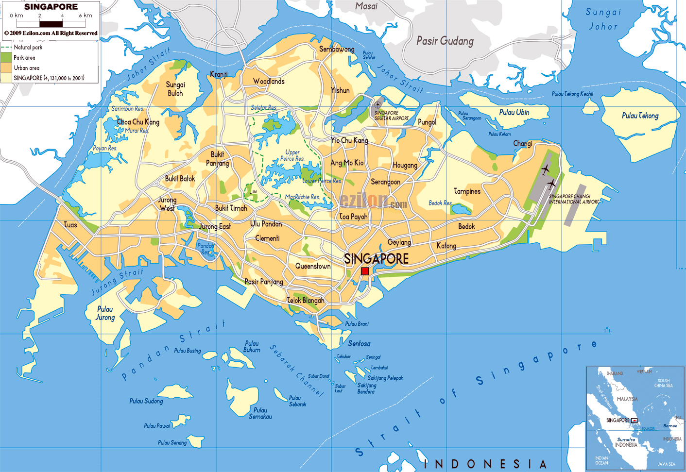 large physical map of singapore with roads and airports. maps of singapore  detailed map of singapore in english  tourist