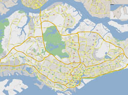 Large road map of Singapore.