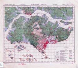 Large scale old topographical map of Singapore - 1937.