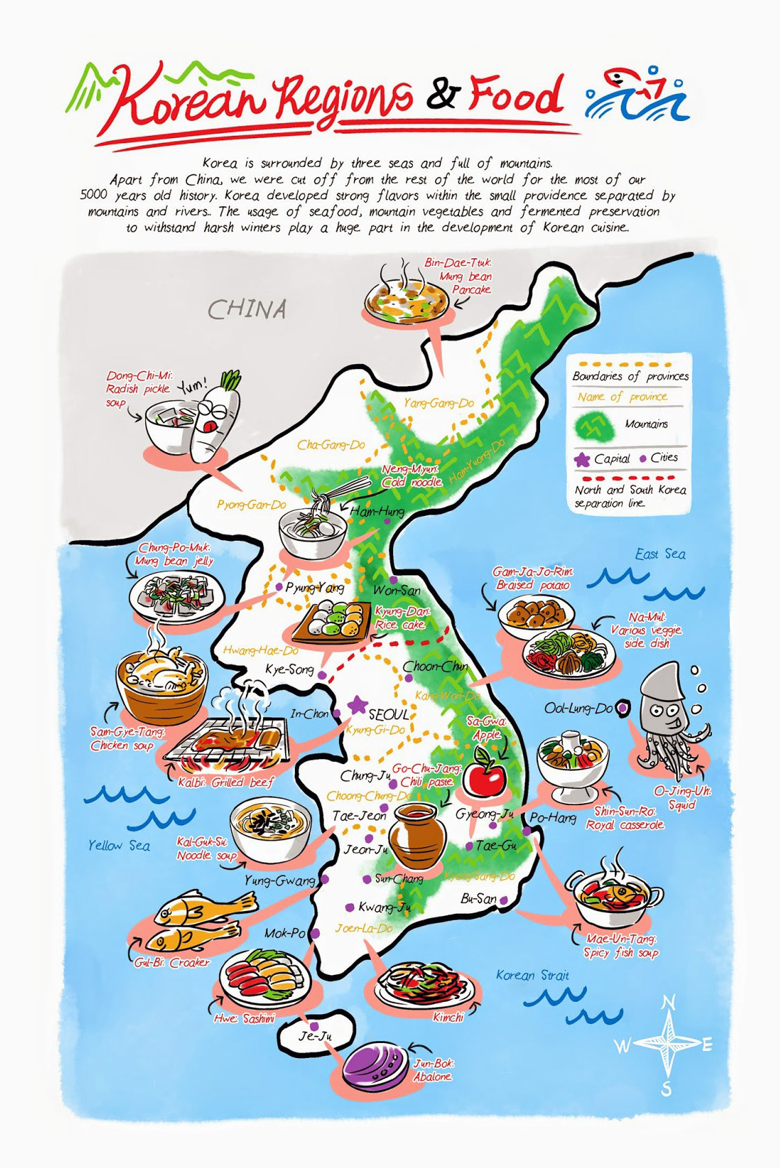 Maps of south korea detailed map of south korea in english detailed korean food regions illustrated map gumiabroncs Image collections