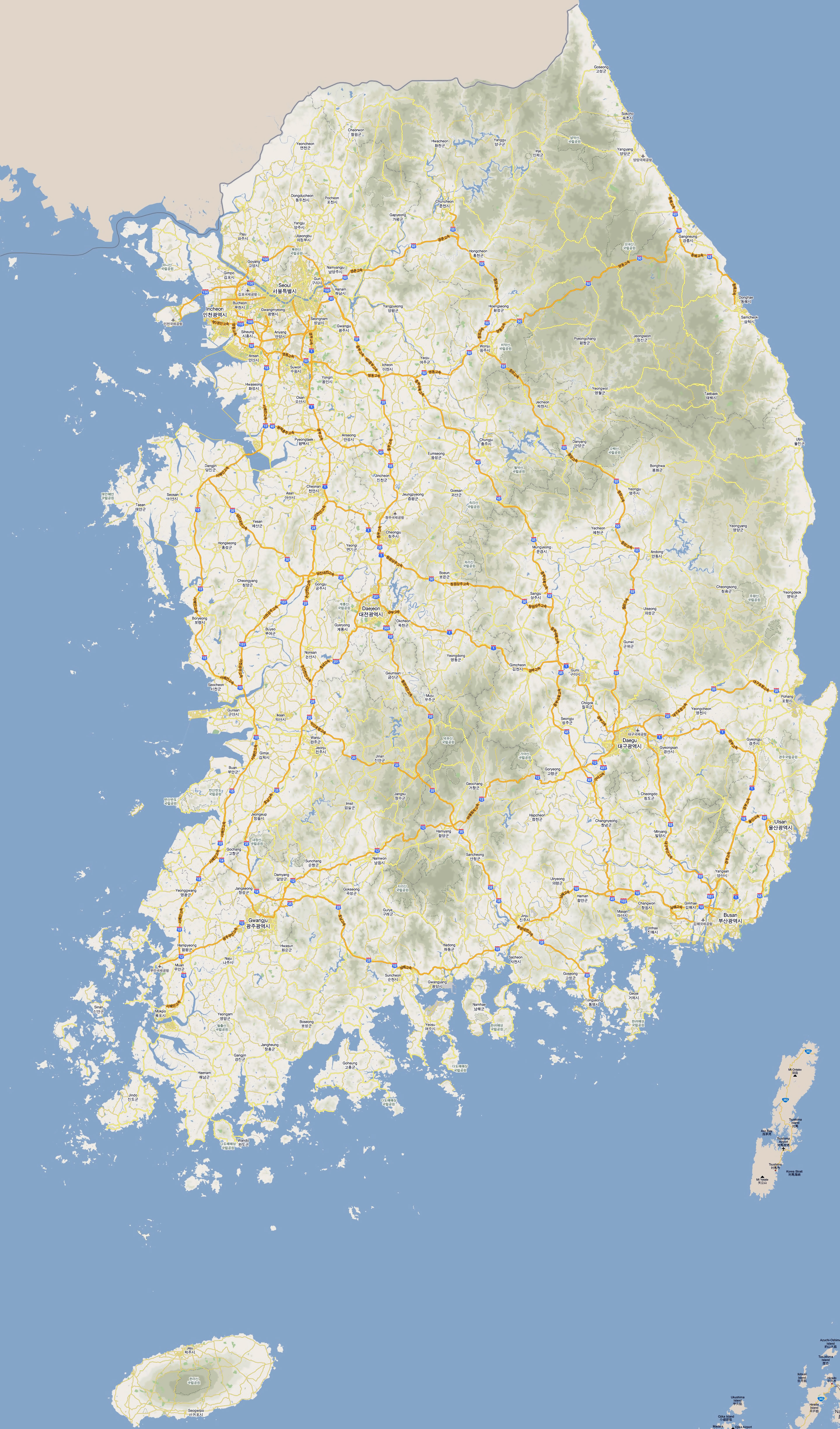 large detailed road map of south korea with all cities