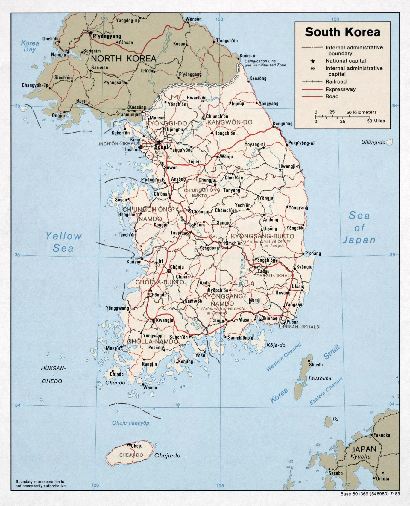 large political and administrative map of south korea with roads and major cities 1989