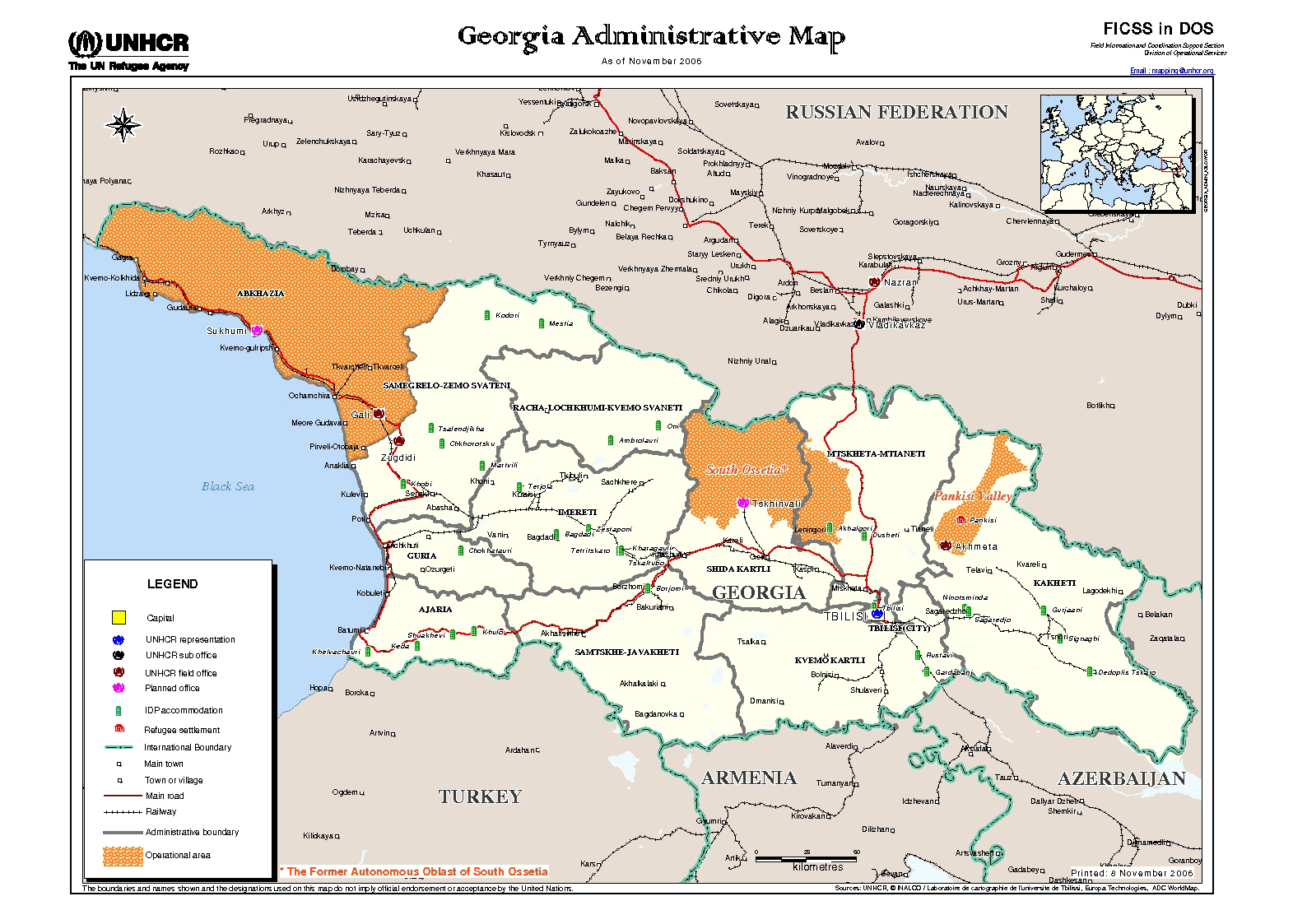 Maps Of South Ossetia Detailed Map Of South Ossetia In English - South ga map