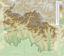 Large detailed physical map of South Ossetia.