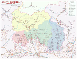 Large detailed political and administrative map of South Ossetia with roads, cities, all villages and other marks.