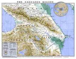 Large detailed political and physical map of Caucasus Region.