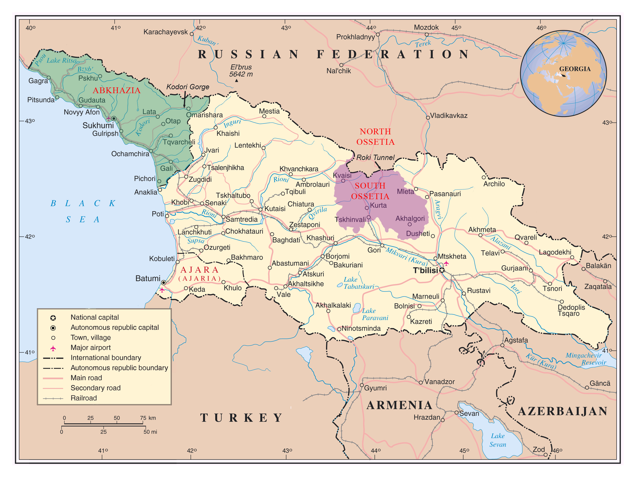 Maps Of South Ossetia Detailed Map Of South Ossetia In English - Georgia map cities