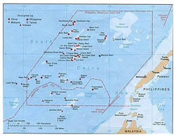 Detailed map of Spratly Islands.
