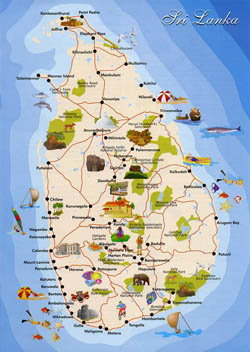 Detailed tourist map of Sri Lanka.